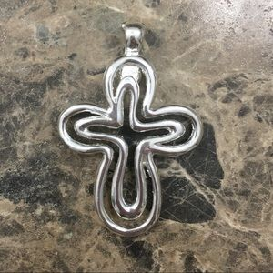 Silver cross magnetic necklace pendant EUC